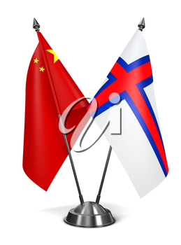 China and Faroe Islands - Miniature Flags Isolated on White Background.