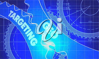 Geo Targeting Concept. Blueprint Background with Gears. Industrial Design. 3d illustration, Lens Flare.