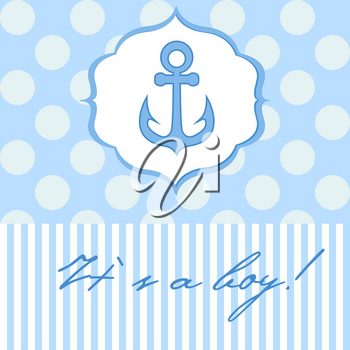 Baby boy shower card with cute anchor on seamless polka dots background