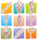 Vector illustration of Cocktails icons