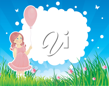 Vector illustration of Summer backgraund with little girl