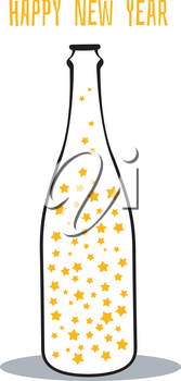 Vector illustration of champagne with the stars