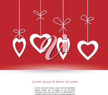 Vector illustration of Valentine's card with hearts