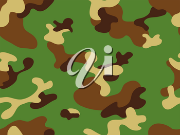Seamless classic camouflage pattern. Camo fishing hunting vector background. Masking green brown beige color military texture wallpaper. Army design for fabric paper vinyl print