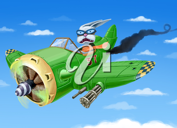 Royalty Free Clipart Image of a Rabbit Pilot in a Falling Plane