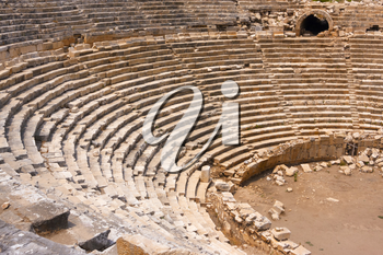 The detail of the ancient Lycian amphytheater in Patara, Turkey.