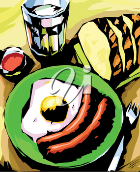 There are two sausages with fried egg, the fresh bread and the glass of milk (or a water) on the green plate.Editable vector EPS v9.0