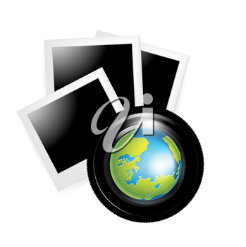 camera lens with globe and photos isolated