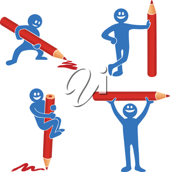 Royalty Free Clipart Image of a Blue person Set