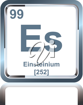 Symbol of chemical element einsteinium as seen on the Periodic Table of the Elements, including atomic number and atomic weight.