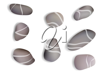 pebbles white background with shadow. 10 EPS