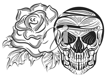 skull and rose isolated on a white background
