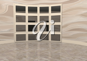 interior with wooden floor. 3d illustration