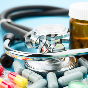 Royalty Free Photo of a Stethoscope and Medication