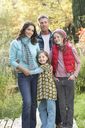 Family Group Standing Outdoors On Wooden Walkway In Autumn Landscape