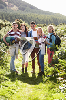 Group Of Young People On Camping Trip In Countryside