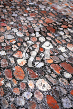Abstract background of old medieval cobblestone pavement