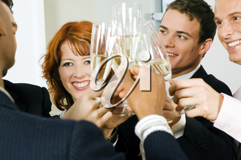 Group of people having a toast or party with champagne