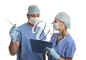 Two hospital staff discussing a patient's medical records or treatment.