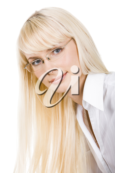 Portrait of beautiful lady wearing glasses and looking at camera