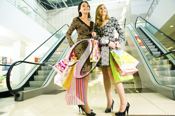 Portrait of two girls standing in the mall after doing shopping