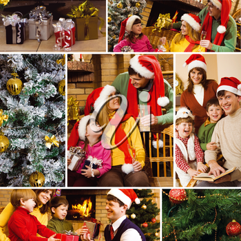 Collage of family celebrating Christmas, gifts and attributes of the holiday