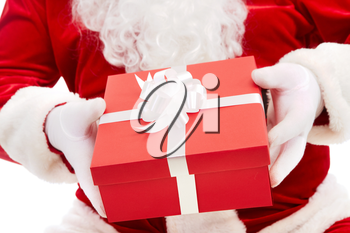 Photo of Santa Claus hands holding red giftbox
