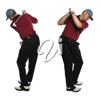 Both side views of a male golfer taking a swing with a golf club isolated on a white background.
