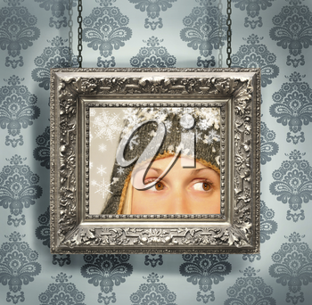 Royalty Free Photo of an Antique Silver Frame Against a Victorian Blue Background