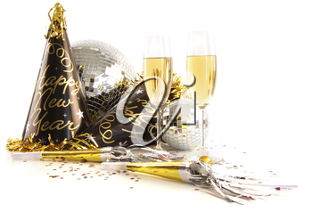 Royalty Free Photo of Champagne and Festive Party Accessories
