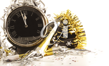 Royalty Free Photo of a Clock and Party Items for the New Year
