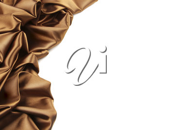 Royalty Free Photo of a Brown Satin Fabric Against a White Background