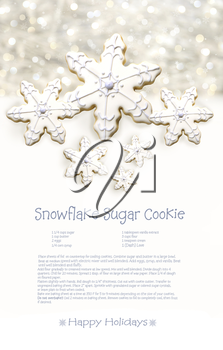 Royalty Free Photo of Snowflake Sugar Cookies With a Recipe