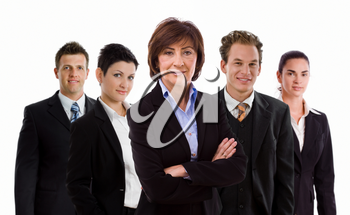 Team photo of happy business people, white background.