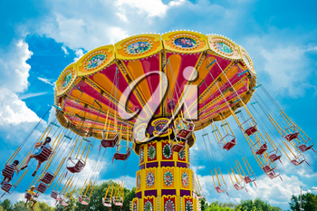 Colorful carousel in Moscow, Russia, East Europe