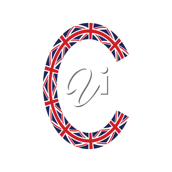Letter C made from United Kingdom flags on white background