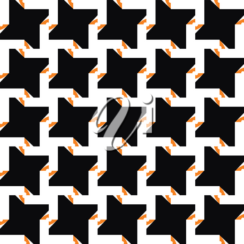 Vector seamless pattern texture background with geometric shapes, colored in black, orange and white colors.