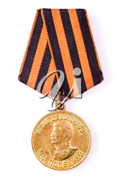 MINSK, BELARUS - FEB 06: Russian (soviet) medal for participation in the Second World War, February 06, 2014.