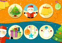 Christmas and New Year icons bell gloves balls tree and snowman on background in cartoon design style