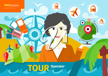 Professions concept with female travel agent holding globe with pointers surrounded  elements of travel and tourism