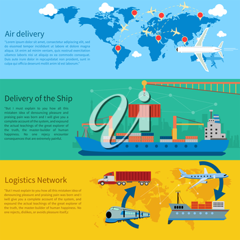 Air mail, delivery of the ship, maritime shipping and logistics network flat design concepts on banners. Shipping, delivery car, ship, plane transport on a background map of the world