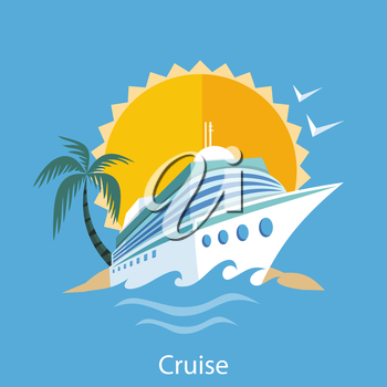Cruise ship in clear blue water with palm tree. Water tourism. Icons of traveling, planning summer vacation, tourism. For web banners, marketing and promotional materials, presentation templates