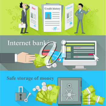 Internet banking and safe storage money. Credit history, good and bad, business financial bank, cash and loan, economy currency, dollar budget illustration