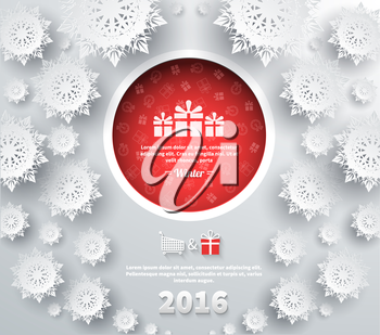 Snowflakes background for winter and new year, christmas theme. Snow, christmas, snowflake winter. 3D paper snowflakes. Happy New Year 2016. Silver snowflake. Snowflakes shadow. Red ball with gifts