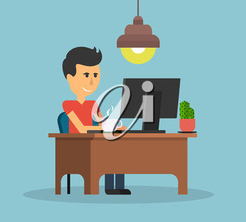 Man work with computer design flat. Work and man, computer and business man worker,  man in office desk, businessman person, table  workplace, job man, character man work manager illustration