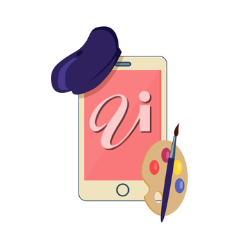 Phone to costume the artist design flat. Digital device in the form of a smartphone painter artist. Phone in fashion hat with a palette isolated on white background in flat style. Vector illustration