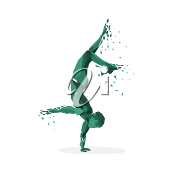 Geometric particle run dance people. Colored geometric particles in the form of people who are jumping run, tantsuyu and standing on one hand. Sport athletes. Vector illustration