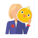Blonde woman character in suit with chicken mask in hand vector. Flat design. Masquerade animal clothing and party costume. Psychological portrait and hidden personality. Isolated on white background