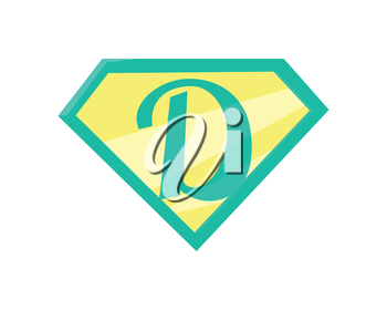 Father superhero symbol. Super dad icon. Super dad shield in flat. Green yellow element. Simple drawing. Isolated vector illustration on white background.
