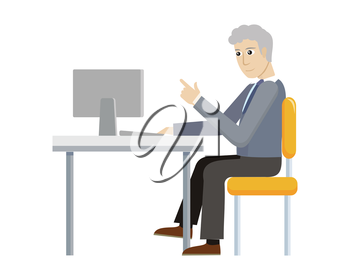 Business man working with desktop computer in office. Man in blue shirt and black pants sitting at the table and using computer. Businessman at the workplace. Isolated object in flat design